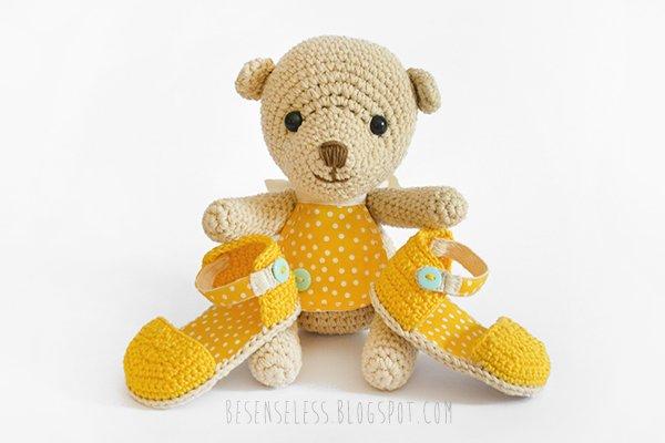 Amigurumi Orsetto Uncinetto : Baby Teddy & sandaletti a pois Airali