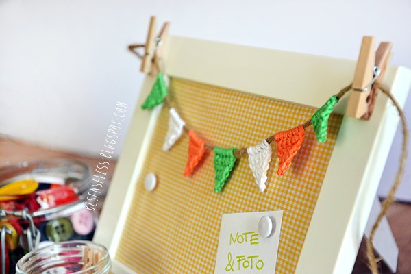 memo-frame with crochet bunting - besenseless.blogspot.com