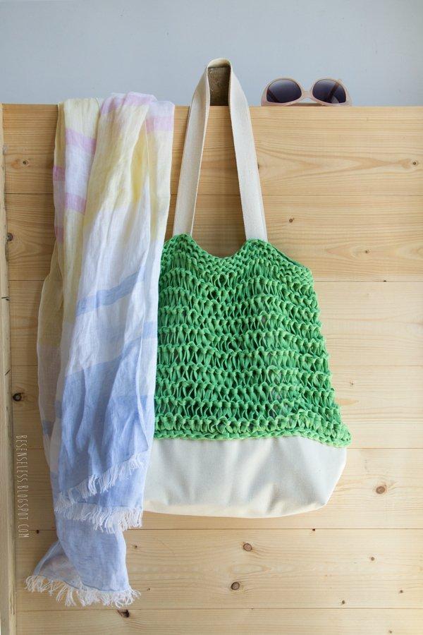 Knitting a summer beach bag with Ribbon XL