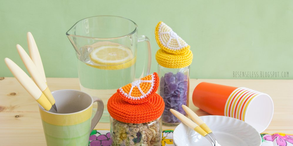 Crochet slice of lemon and orange - Spicchi di arancia e limone a uncinetto per decorare barattoli di vetro - besenseless.blogspot.com