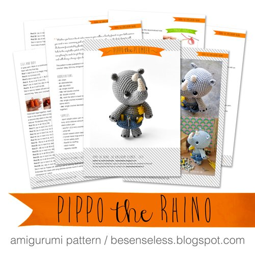 Pippo the rhino - amigurumi pattern - https://www.etsy.com/it/shop/airali