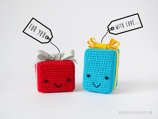 Pacchetto regalo amigurumi - Crochet gift box - besenseless.blogspot.com