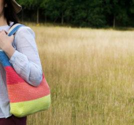 borsa crochet reversibile con lato a righe e lato traforato - schema uncinetto