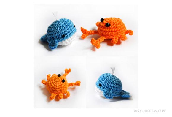 Crab&Whale crochet pattern - Granchio&balena schema uncinetto