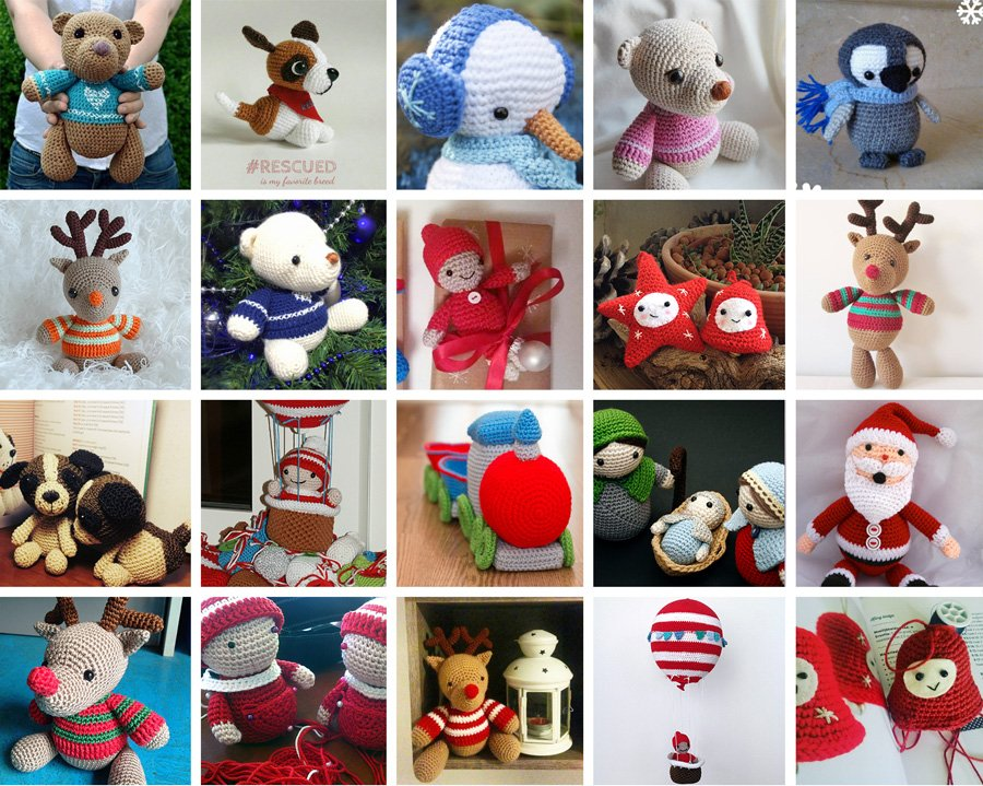collage foto amigurumi dal libro amigurumi winter wonderland