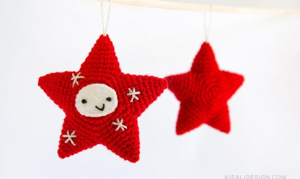 stella a cinque punte amigurumi decorazione per albero di natale schema uncinetto