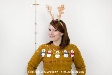 christmas-jumper-day schema uncinetto per applicazione pupazzo di neve