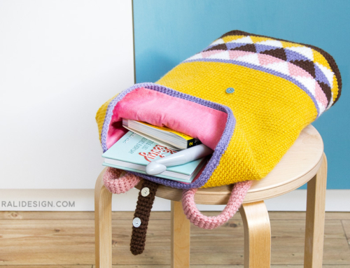 Backpack with geometric colourwork in tapestry crochet