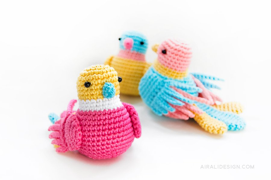 Uccelli uncinetto amigurumi Airali design per Mollie Makes