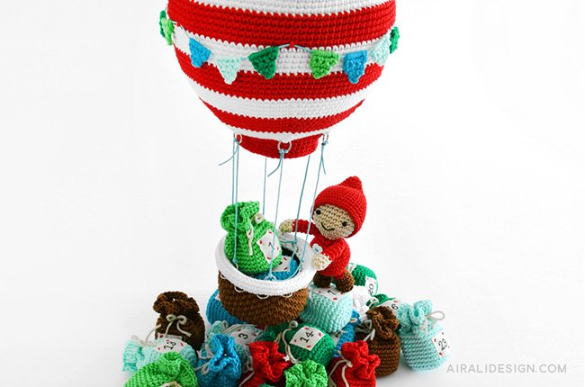 Amigurumi Hot air balloon and little elf crochet pattern in Amigurumi Winter Wonderland book by Ilaria Caliri