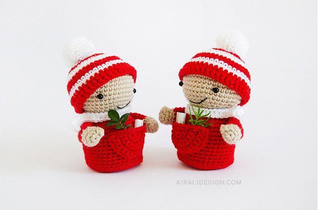 Elf with striped hat with pompom crochet pattern in Amigurumi Winter Wonderland book by Ilaria Caliri
