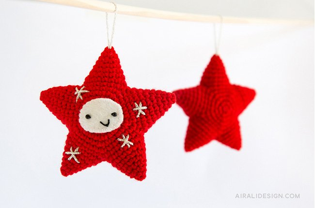 Red Star crochet pattern in Amigurumi Winter Wonderland book by Ilaria Caliri