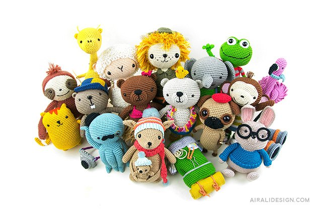 Group of amigurumi toys. Crochet pattern from the book Amigurumi Globetrotters by Ilaria Caliri