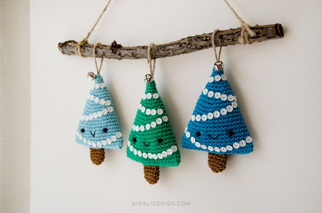 Alberelli, Christmas tree decoration, free crochet pattern by Airali design