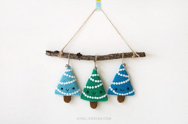 Alberelli di Natale amigurumi - schema uncinetto gratuito