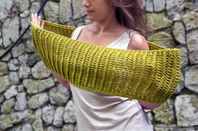 Binario cowl, front post and ribbing stitch, crochet pattern by Airali design