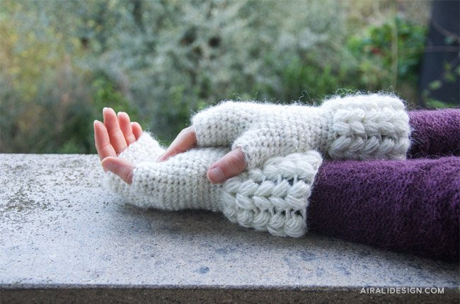 Brina fingerles with puff stitches in white, free crochet pattern by Airali design