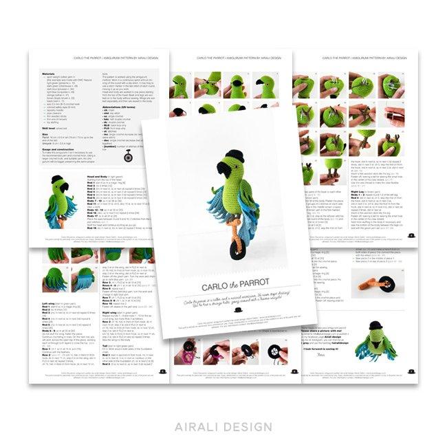 Carlo il pappagallo amigurumi sul monociclo - schema amigurumi