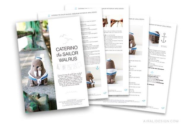 Caterino the amigurumi sailor walrus, crochet pattern by Airali design