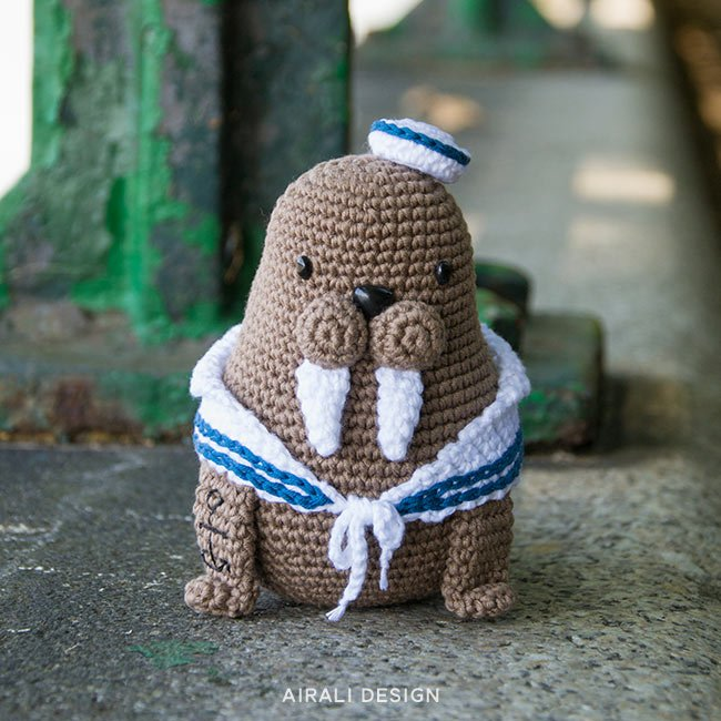 Caterino the amigurumi sailor walrus, crochet pattern by Airali design