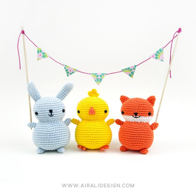 Chubby friends: bunny, chick and fox amigurumi, crochet pattern by Airali design