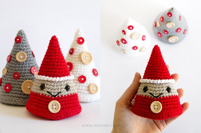 Albero di Natale e Folletto a forma di cono - schema gratuito amigurumi a uncinetto