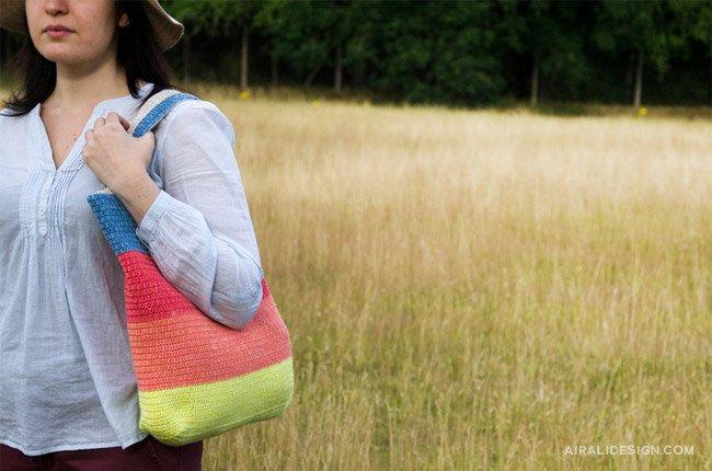 Denim borsa shopper reversibile a uncinetto - schema