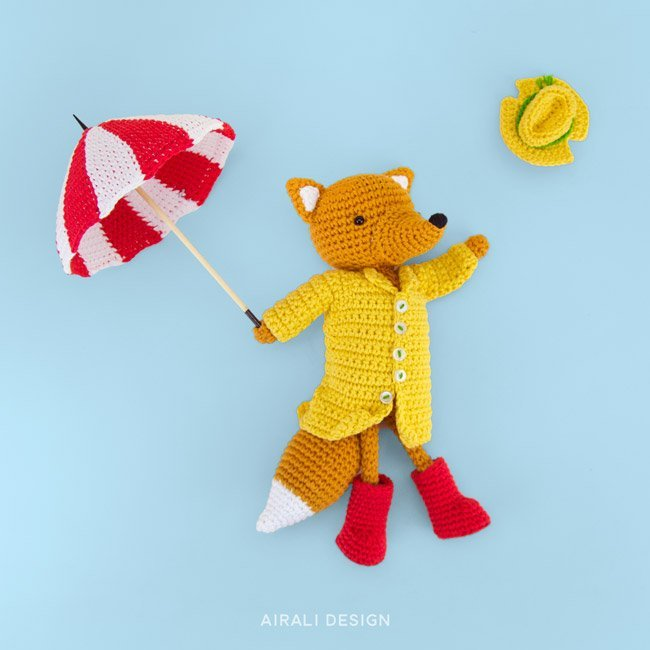 Foggy the amigurumi fox with tapestry crochet umbrella and raincoat, crochet pattern by Airali design