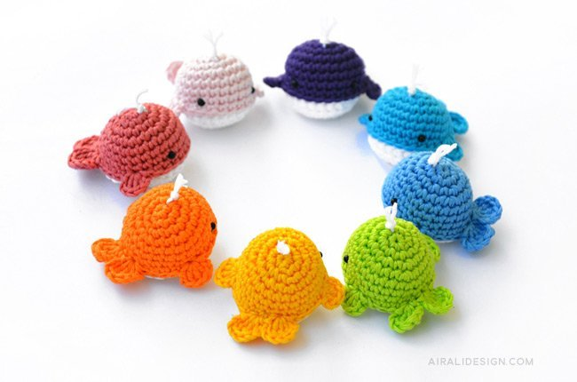 Little amigurumi whale in rainbow colors, crochet pattern by Airali design