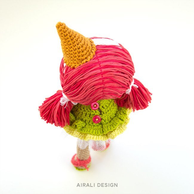 Lorena the ice cream amigurumi doll with pink hair and crochet dress, crochet pattern by Airali design