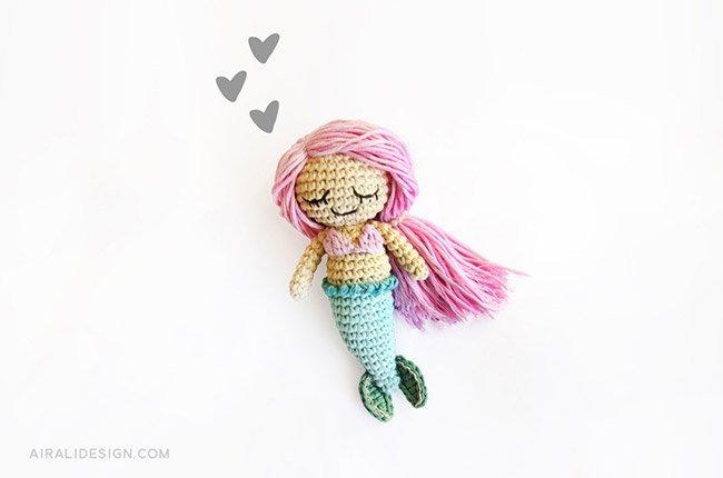 Sandrine the little amigurumi mermaid, crochet pattern by Airali design
