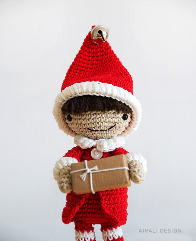 Santa's helper elf in red and white, crochet pattern by Airali design