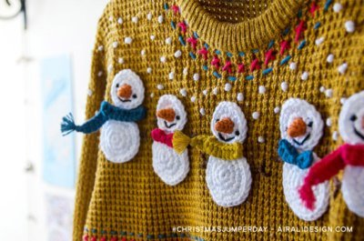 Snowman with scarf applique and patches, free crochet pattern by Airali design