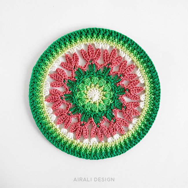 Spring mandala in pink and shades of green, free crochet pattern by Airali design