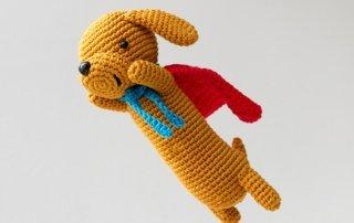 Super Sausage, amigurumi dachshund dog, crochet pattern by Airali design