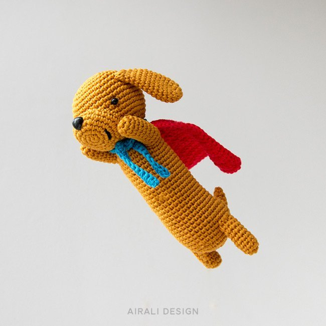 Super Sausage, amigurumi dachshund dog, crochet pattern by Airali design