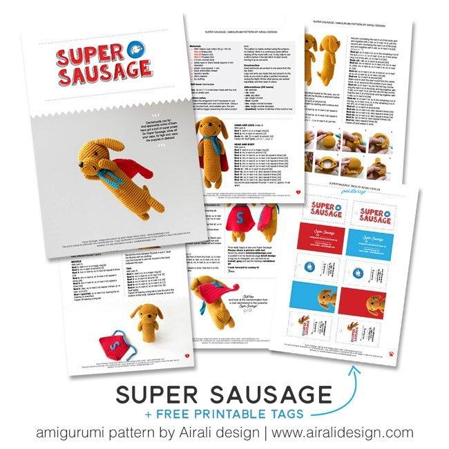 Super Sausage bassotto amigurumi - schema uncinetto