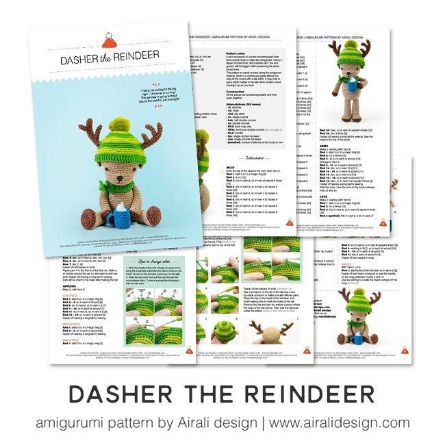 Dasher renna amigurumi schema uncinetto in pdf