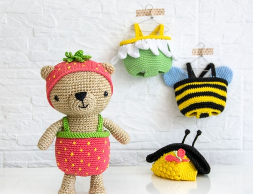 Dress-Up Bears| Amigurumi Bear + 3 costumes: Strawberry, Bee and Flower