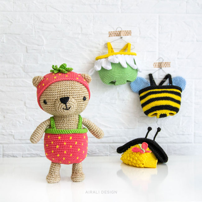 Amigurumi Honey Bunny Dress-Up Rabbit Doll with Checked Dress ... | 650x650