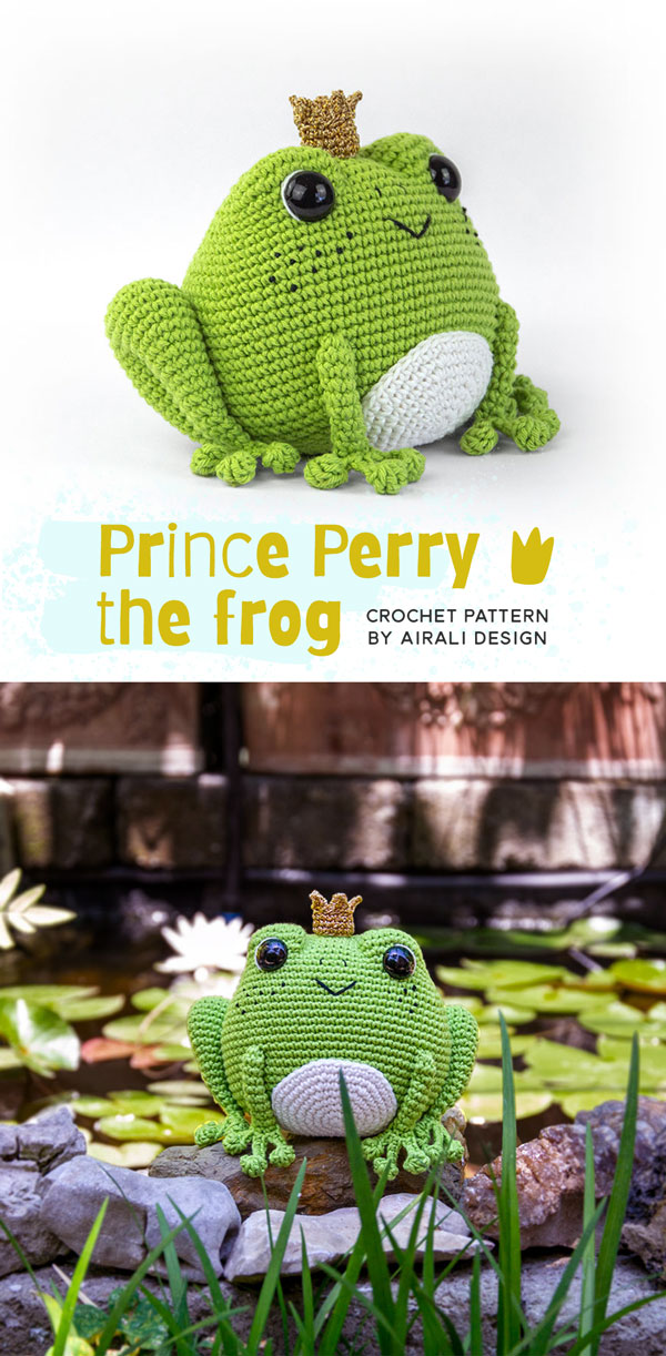 Prince Perry the Amigurumi Frog - PDF crochet pattern by Airali design | 1222x600