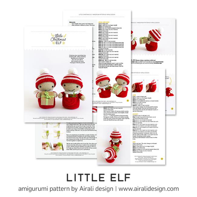 Piccolo Elfo di Natale Amigurumi - Decorazioni Natalizie - Schema Uncinetto by Airali design