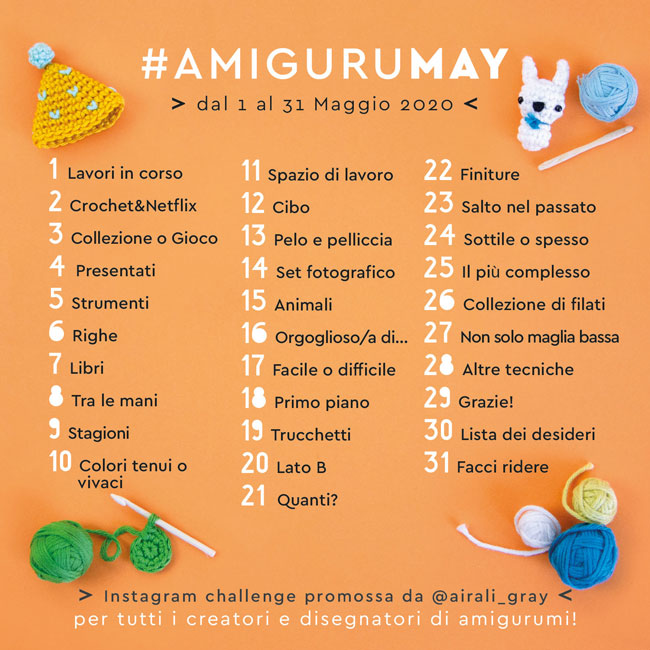 AmiguruMAY 2020 Instagram Challenge for amigurumi makers and designers