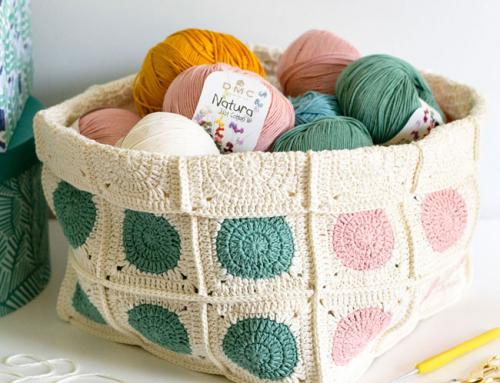 Dotty, crochet granny squares basket (free pattern!)