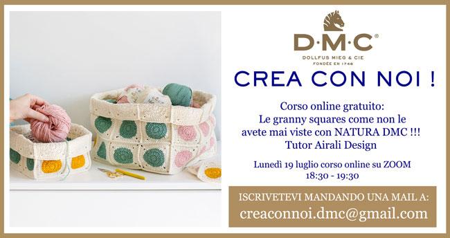 Corso online gratuito per realizzare il Cesto Dotty con granny squares (piastrelle a uncinetto) con il filato DMC Natura